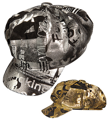 LAME NEWSBOY CAP GOLD OR SILVER