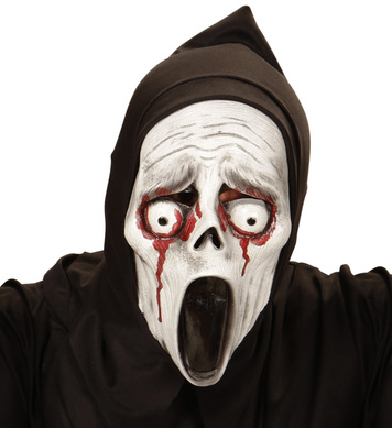 BLEEDING EYES SCREAMING GHOST HOODED MASK - CHILD