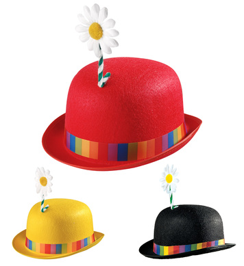 CLOWN BOWLER HAT W/FLOWER - 3 colours