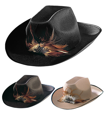 FELT COWBOY HAT W/FEATHER - 3 colours