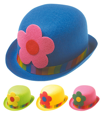 CLOWN BOWLER HAT FELT W FLOWERS - 4 colours