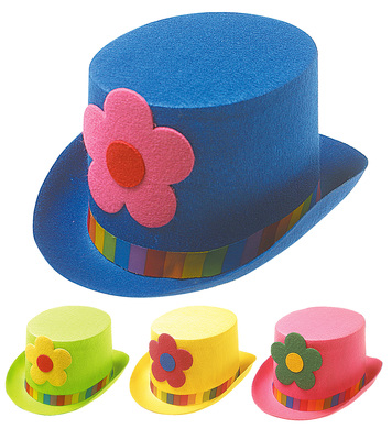 CLOWN TOP HAT W/FLOWERS - 4 colours