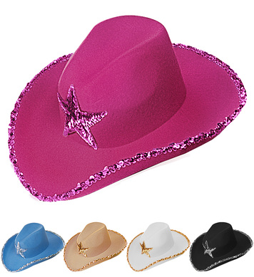COWBOY HAT SEQUIN DECOR FASHION HAT - 5 colours