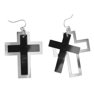 BLACK & SILVER CROSS EARRINGS
