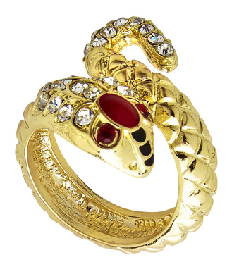 GOLD SNAKE RING WITH STRASS & RED GEM EYES