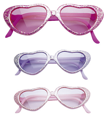 GLAMOUR GIRL GLITTER HEART GLASSES