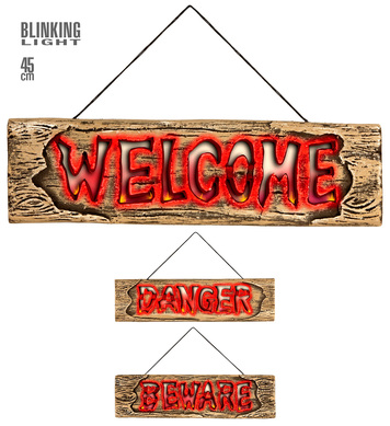 FLASHING LIGHTS SIGN 45 cm - (Beware/Welcome/Danger)