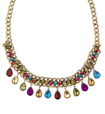 GOLD NECKLACE WITH COLORED GEMS