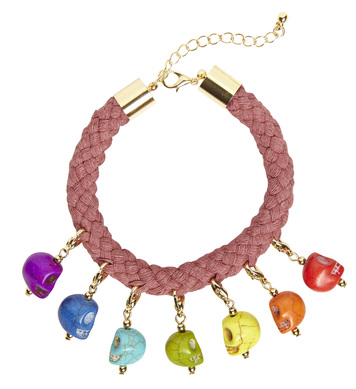 CORD BRACELET WITH 7 COLORED SKULLS