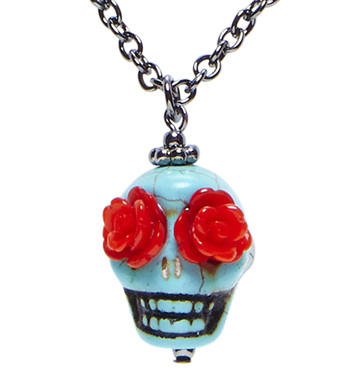 AZURE SKULL WITH RED ROSE EYES NECKLACE