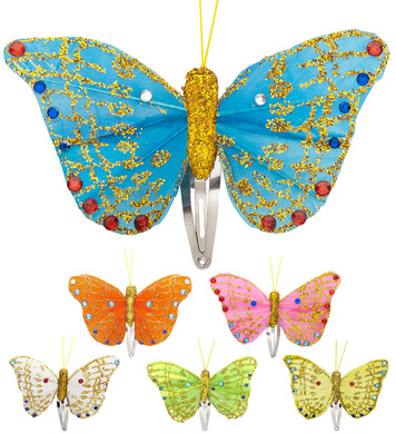 BUTTERFLY HAIR CLIPS (white/pink/orange/blue/green/yellow)