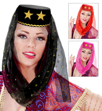 FELT HAREM HAT W/VEIL - 3 colours