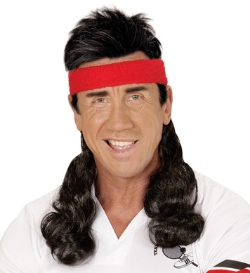 SWEATBAND W/HAIR EXTENSION - BLACK