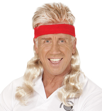 SWEATBAND W/HAIR EXTENSION - BLONDE