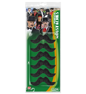 SET 6 ADHESIVE MOUSTACHES