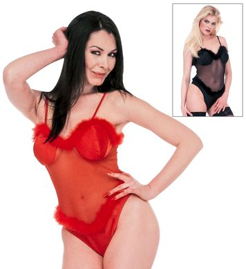 LADY MARABOU TRIMMED LEOTARD RED/BLACK
