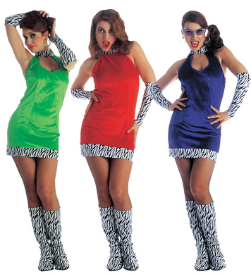 GO GO GIRL COSTUME **RED ONLY (dress gloves boot covers)