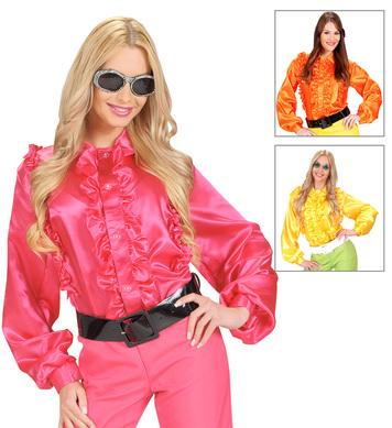 M SIZE SATIN RUFFLE SHIRT (orange/yellow/pink)
