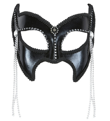 SHINY BLACK FASHIONISTA S&M MASK WITH STRASS & BEADS