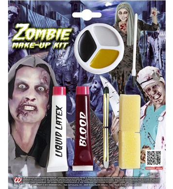 ZOMBIE MAKEUP KIT (liquid latex blood pencils makeup tray)