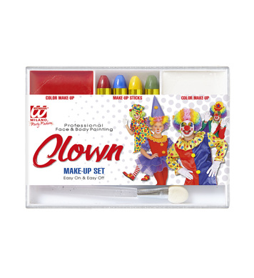 CLOWN MAKEUP SET (4 makeup sticks makeup remover applicator)