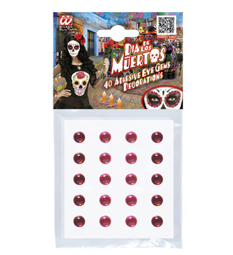 ADHESIVE EYE GEMS DECORATIONS - RED/PINK - SET OF 40
