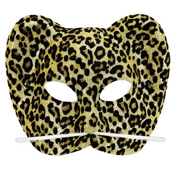 FLOCKED GLITTER LEOPARD MASK