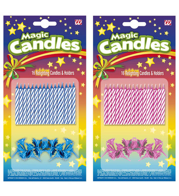 MAGIC RELIGHTING CANDLES & HOLDERS set of 16 - 2 colours