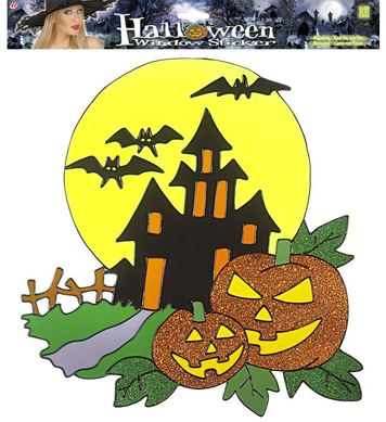 WINDOW STICKERS - HAUNTED HOUSE W/ PUMPKINS