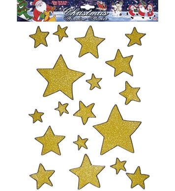 WINDOW STICKERS SET 18 - GOLD GLITTER STARS
