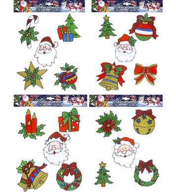 STICKERS WINDOW SET 5 - CHRISTMAS ASSTD