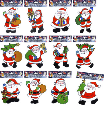 WINDOW STICKERS - SANTA CLAUS - 12 small styles