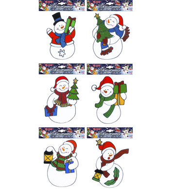 WINDOW STICKERS - SNOWMAN - 6 styles