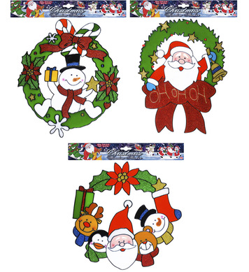 WINDOW STICKERS - CHRISTMAS WREATH - 3 styles