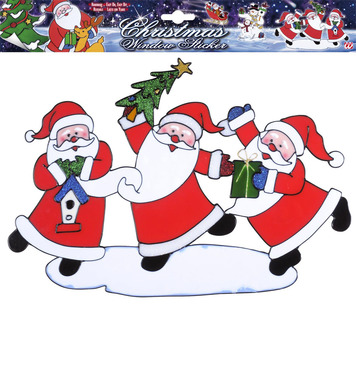 WINDOW STICKERS - HORIZONTAL SANTA CLAUS TRIO 40cm