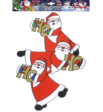 WINDOW STICKERS - VERTICAL SANTA CLAUS TRIO 40cm