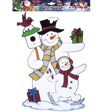 WINDOW STICKERS - SNOWMAN COUPLE 40cm