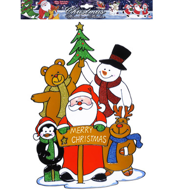 WINDOW STICKERS - MERRY CHRISTMAS SANTAS FAMILY