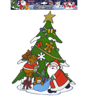 WINDOW STICKERS - SANTA WITH TREE 40cm