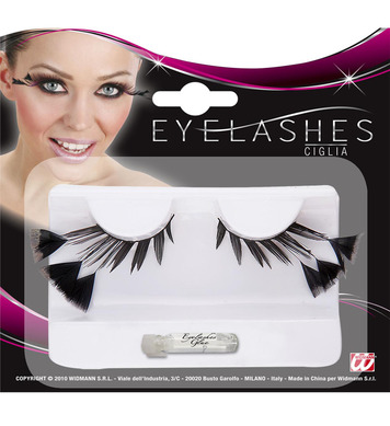 EYELASHES BLACK W/3 FEATHERS ON THE SIDES