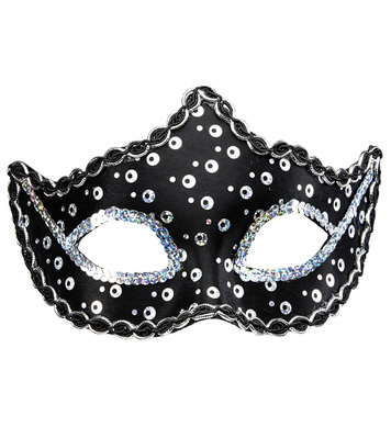 BLACK RIALTO EYEMASK WITH HOLOGRAPHIC SEQUIN