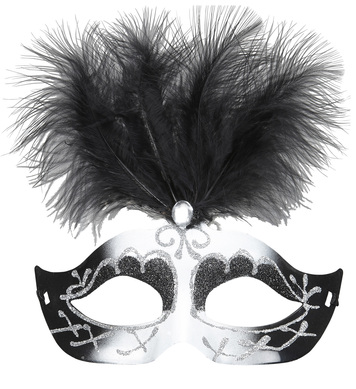 BLACK & WHITE VENICE EYEMASK WITH GLITTER, GEM & FEATHERS