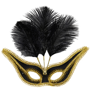 BLACK EYEMASK WITH GOLD TRIM & FEATHERS
