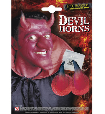 SFX DEVIL HORNS WITH ADHESIVE RED