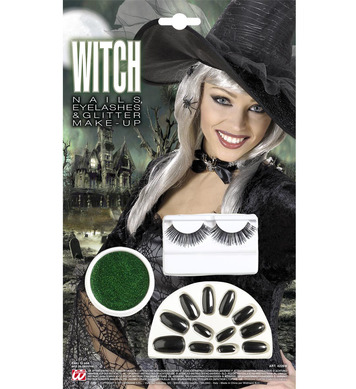 MAKEUP/EYELASHES/NAILS SET - GREEN