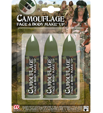 CAMOUFLAGE FACE PAINTS - 1 EACH OF BLACK, BROWN, GREEN