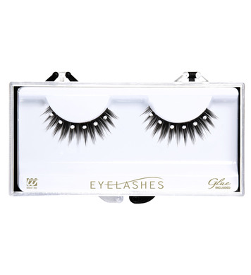 BLACK SPIKED EYELASHES WITH STRASS (glass glue bottle)