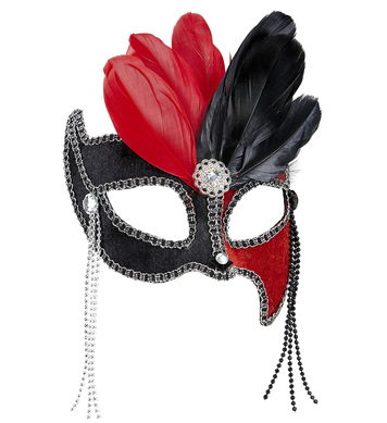 BLACK/RED GRAND BALL EYEMASK W/ GEMS, BEADS & FEATHERS