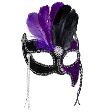 BLACK/PURPLE GRAND BALL EYEMASK W/ GEMS BEADS & FEATHERS