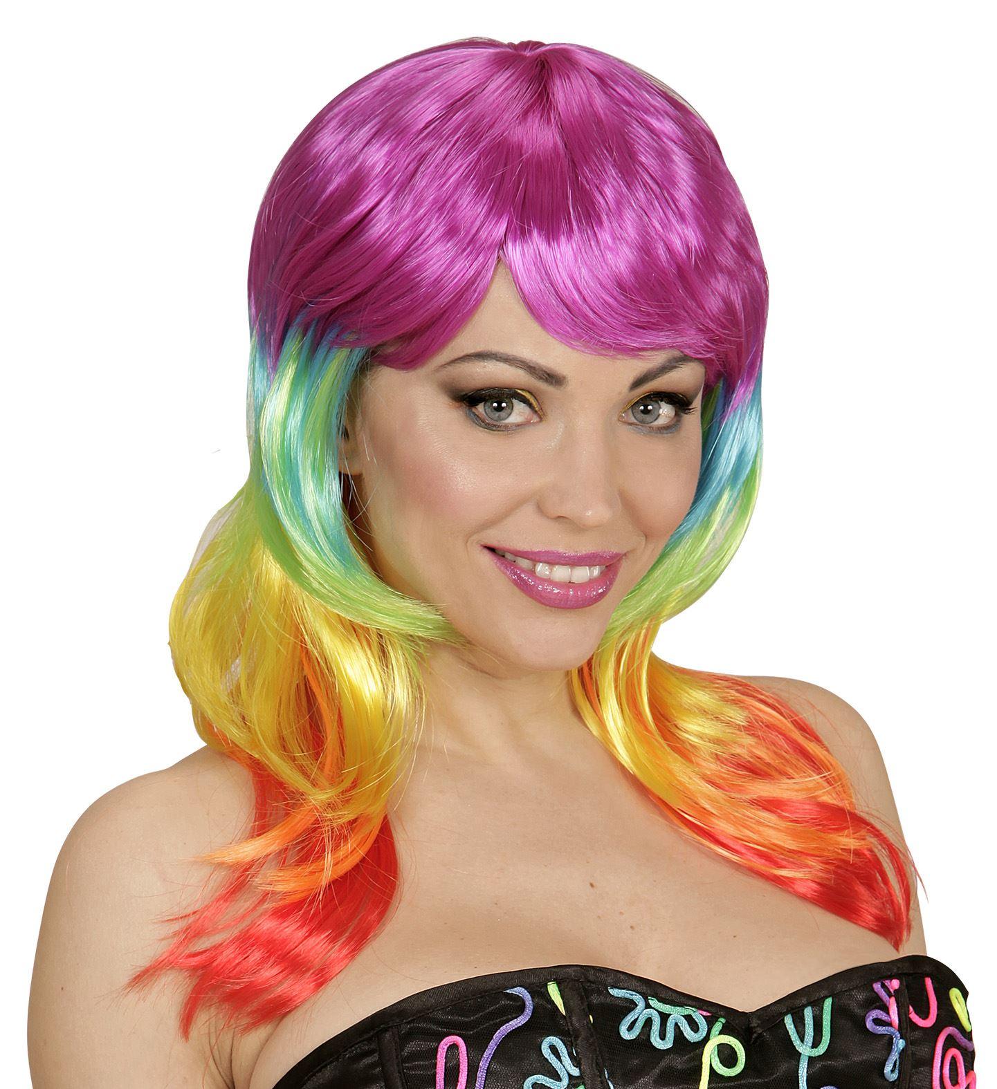 Rainbow Fashion Wig Fancy Dress